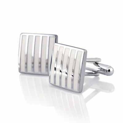 Silver Men's Wedding Party Smooth Cufflinks Stripe Cuff Links Mens Cufflinks