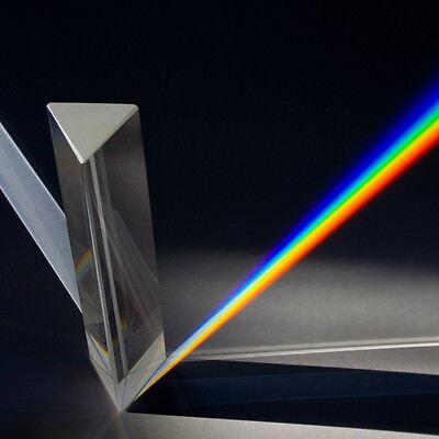 Hot 8cm Optical Glass Triple Triangular Prism Physics Teaching Light Spectrum