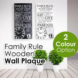 Family Rules wall decoration wooden hanging wall sign plaque vintage art 60CM