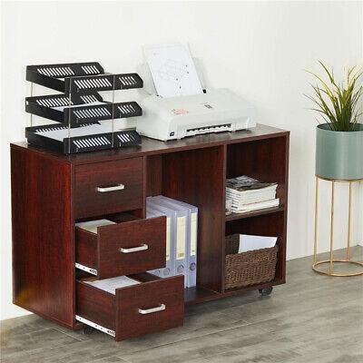 Home Office 3-drawer Wood File Cabinet Filing Storage Organizer W Open Shelf Us