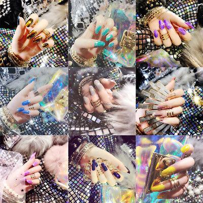 24pcs Shiny Mirror False French Full Finger Nail Tips Fake Art Cover Manicure (Fake Fingernails)