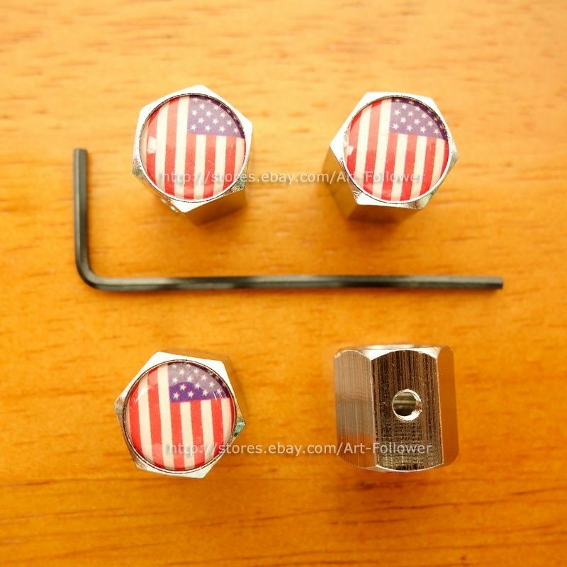 1 Set New logo USA National Flag Anti-Theft Locking Tire Air Valve Caps