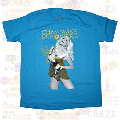TWO IN THE SHIRT TITS Sexy Hot Girl Woman Champagne Shower MENS Blue T-Shirt