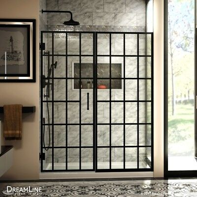 DREAMLINE UNIDOOR TOULON 58-58 1/2 x 72 Twirl SHOWER DOOR 3/8 GLASS/SATIN BLACK
