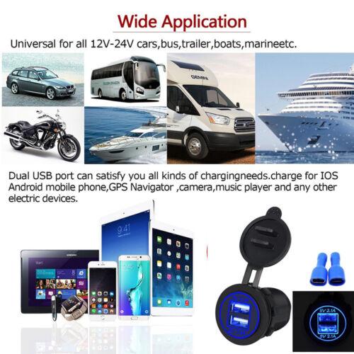 5V 4.2A Dual Port USB Charger Socket Car Boat Blue LED Adapter Power Outlet