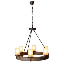 BARKER AND STONEHOUSE WOODEN CIRCLE CHANDELIER LIGHT BRAND NEW!!