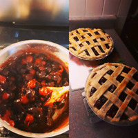 Accepting orders for homemade pies.