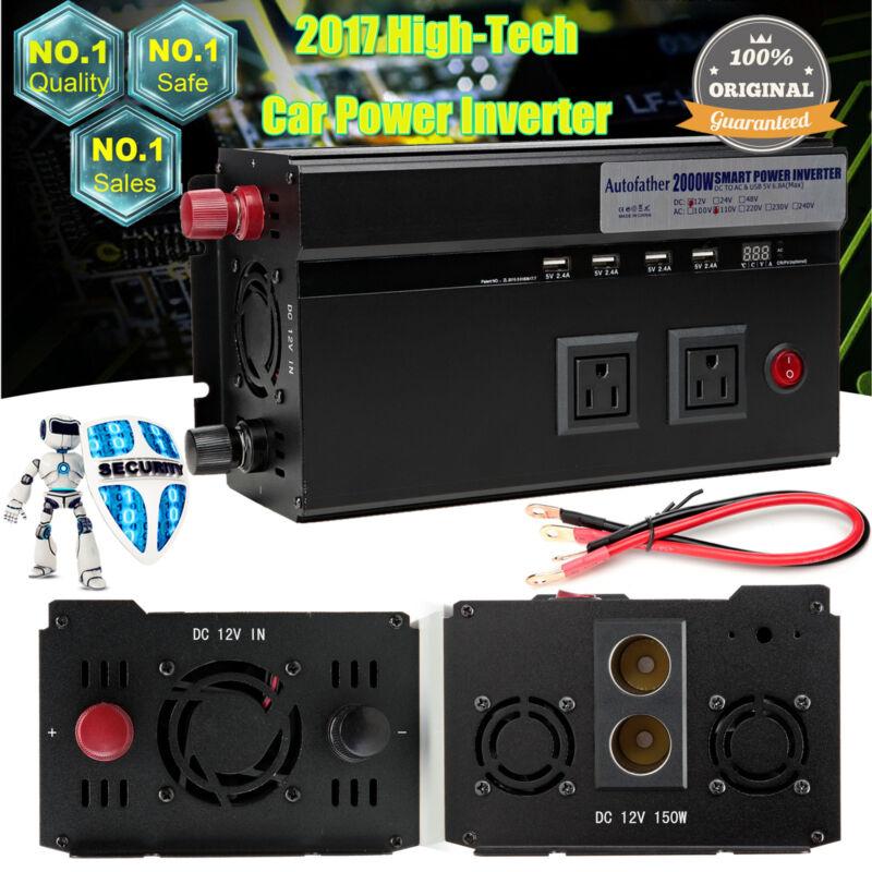 2000/4000Watt Car Power Inverter 12V DC To 110V AC Supply Adapter 4USB Converter