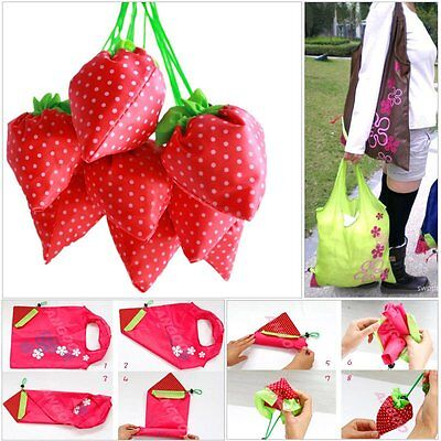 10X Eco-friendly Strawberry Foldable Bag Reusable Shopping Tote Shoulder Purse