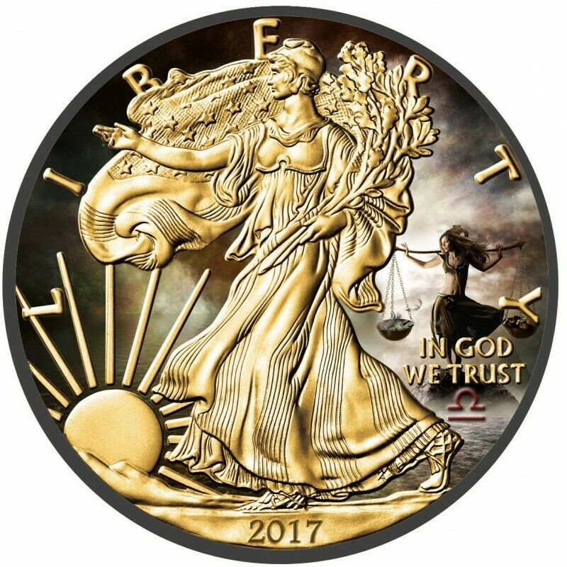 2017 1 Oz Silver $1 LIBRA AMERICAN EAGLE Ruthenium Coin WITH 24K GOLD GILDED.