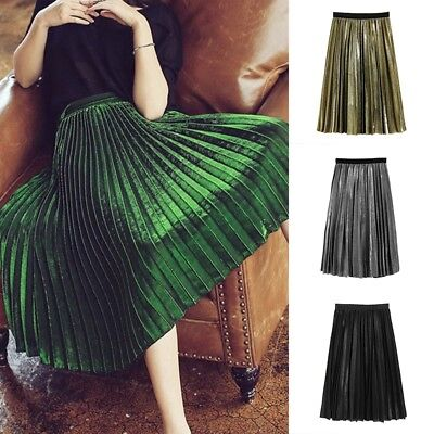Women Vintage Metallic Long Midi Pleated Skirt Stretch High Waist Casual Skirt