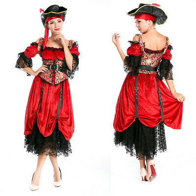 Elite 4 Sets Ladies Womens Victorian Pirate Wench Halloween Costume Party - Wench Kostüm Set