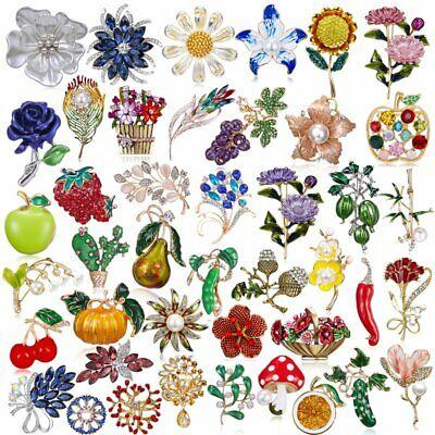 Fashion Rhinestone Crystal Flower Plant Bridal Bouquet Enamel Brooch Pin Jewelry