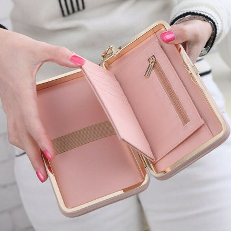 Women Leather Clutch Wallet Long Card Holder Box Wristband Multifunction Handbag Clothing, Shoes & Accessories