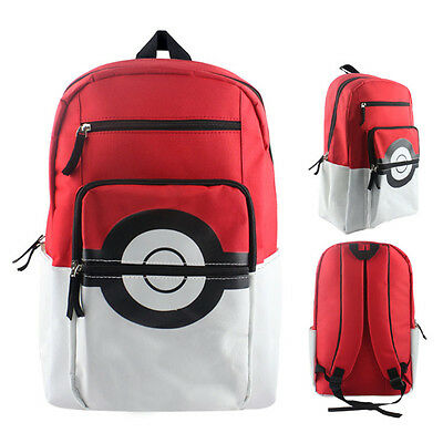 Pokemon Pokeball Bag Backpack Waterproof Rucksack Unisex School College Gift New