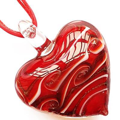 (Gold Red Heart Handmade Lampwork Glass Murano Bead Pendant Ribbon Wax Necklace)