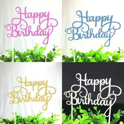 - 13cm Happy Birthday Birthday Cake Topper Candle Party Supplies 4 Colors Gift Tag