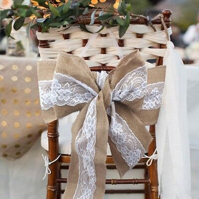 1/50×Hessian Burlap Lace Chair Sash Cover Bows Rustic Wedding Party DIY Decor - Diy Wedding Chair Covers