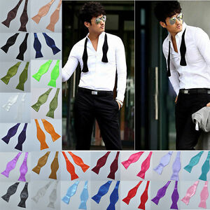 New-Mens-Solid-Color-Plain-Silk-Self-Tie-Bow-Ties