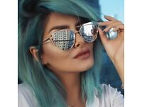 Cat eye Women Sunglasses 2017 New Brand Design Mirror Flat Rose Gold Vintage