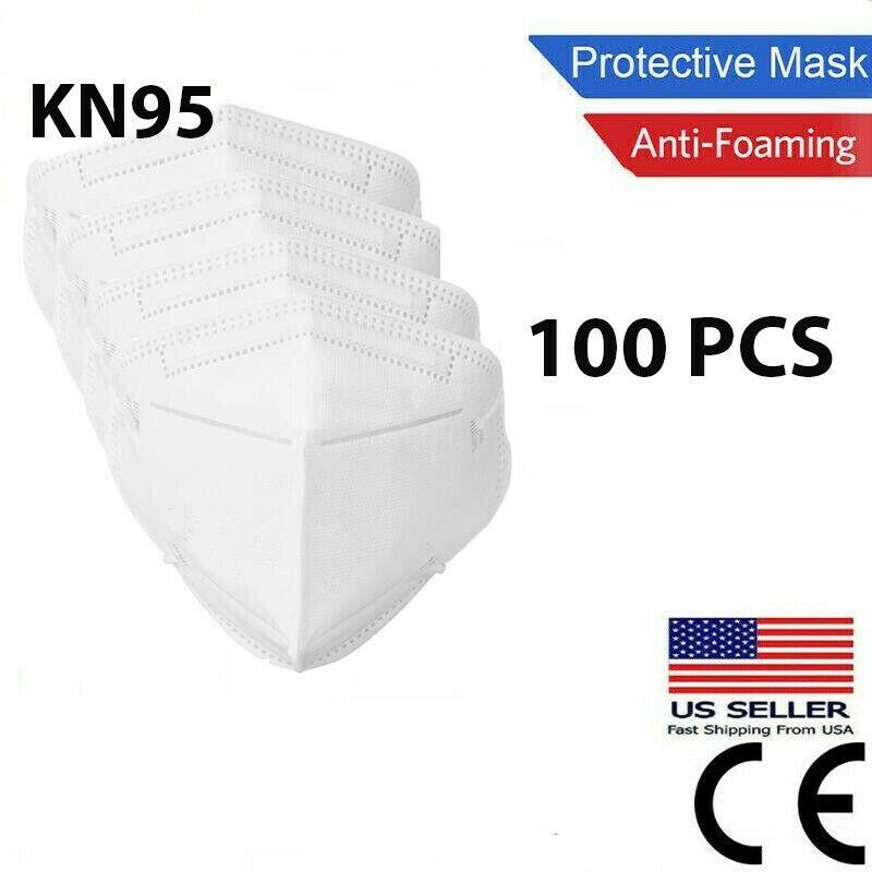 100 Pcs White KN95 Protective  Face Mask BFE 95% Disposable Respirator