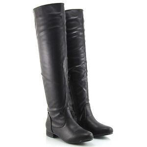 LADIES BLACK FLAT OVER THE KNEE WOMENS HIGH ZIP STRETCH ELASTIC WINTER BOOTS 3-8