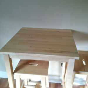 Solid Birch Tall Table & Stools (2)