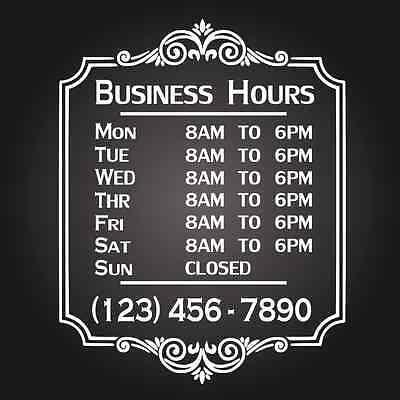 Custom Business Store Hours Vinyl Window Decal 11x14 Sticker Sign Glass Door