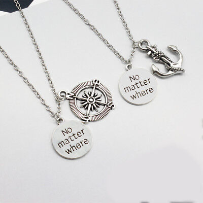 Compass Anchor Necklace set No Matter Where Friends Couples Cruise Gift Pair