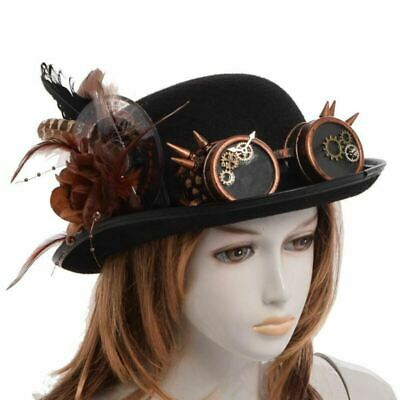 Vintage Top Hat Feathers Gear Glasses Gothic Hat Victorian Cosplay Steampunk