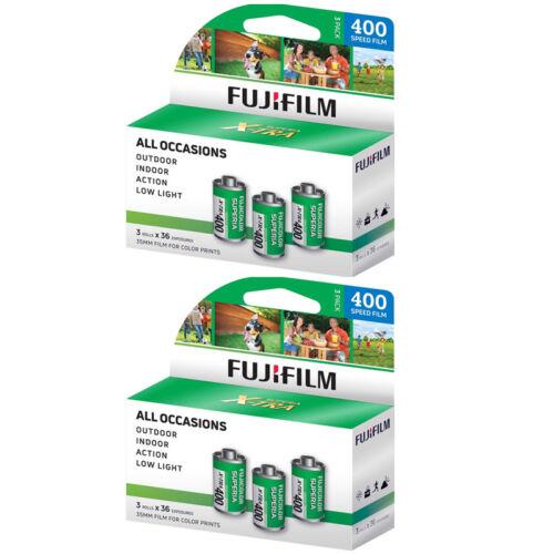 6 Rolls Fuji Superia (3 Pack) X-TRA 400 36 Exp. 35mm Color Film, 216 Exp  FRESH