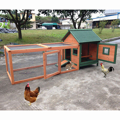 "72"" Wood Chicken Coop Rabbit Hutch Small Animal Cage Duck Guinea Pig Ferret Nest"