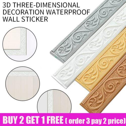 Home Decoration - 3D Wall Self-Adhesive Sticker Waterproof Skirting Wallpaper Border Home Decor UK