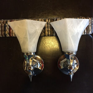 Chrome Vanity Lights with White Glass Shades