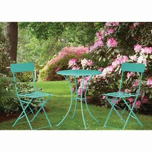 Teal Folding Metal Bistro Set Garden Chair Chairs Table Furniture Outdoor Patio