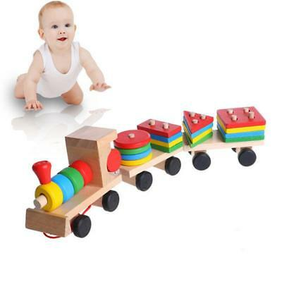 Wooden Train Building Blocks Educational Learning Toys Set For Toddler Kids Q