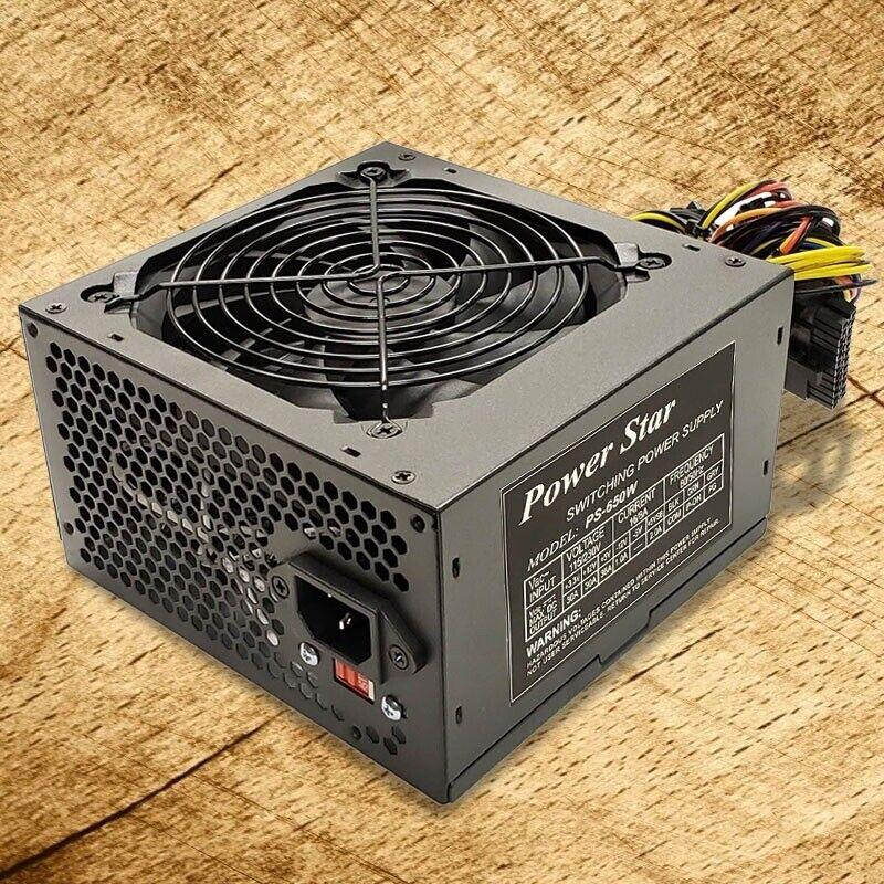NEW--Power Star Black 650w-Max ATX Power Supply 12cm Fan, 20+4pin, SATA & PCIe