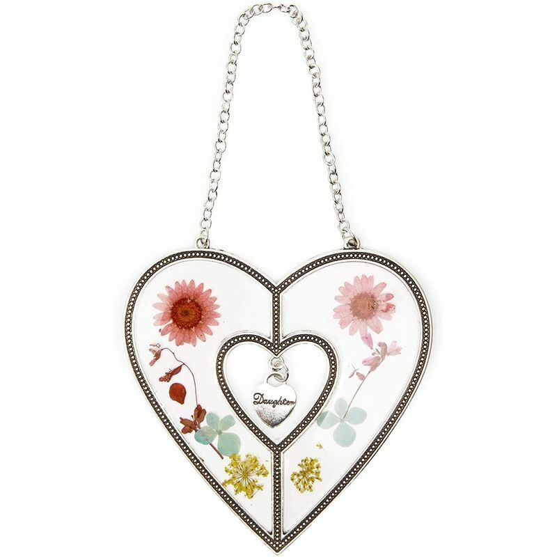 Heart Suncatcher for Window with Pressed Flowers (4.5 x 8.25 Inches)