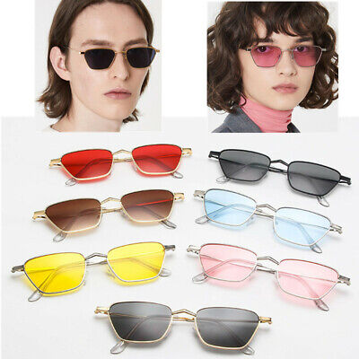 Men Women Retro Square Sunglasses Metal Small Frame Vintage Ladies Sun Glasses