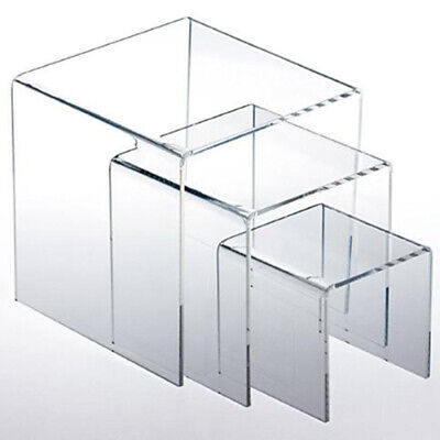 3pc Transparen Acrylic Display Risers Jewelry Stands Cases Book Stands Showcase