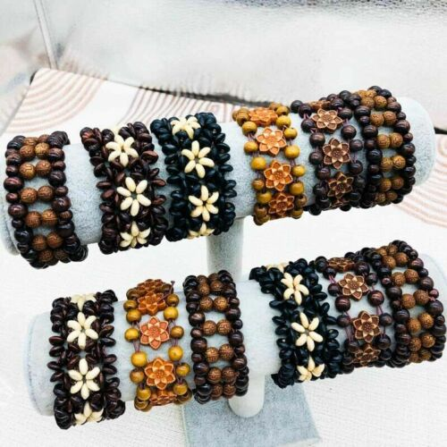 Wholesale 30pcs Ethnic tribal Handmade Wood Beads Bracelets Bangle Cuff Jewelry