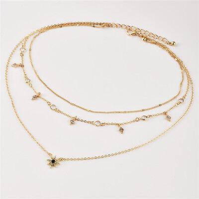 Gold Choker Necklace Multi Layer Chain Crystal Star Pendant Statement Bib New