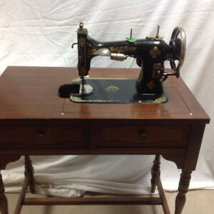 sewing table and Old World WHITE machine.