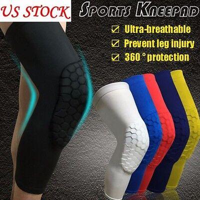 Men Honeycomb Black Sport Cover Leg Knee Sleeve Brace Protector Gear Basketball