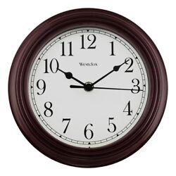 Westclox 46983 Wall Clock Round Analog Burgundy Frame