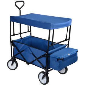 Folding Utility Outdoor Wagon with Canopy, Rubber Tire Garden Sh