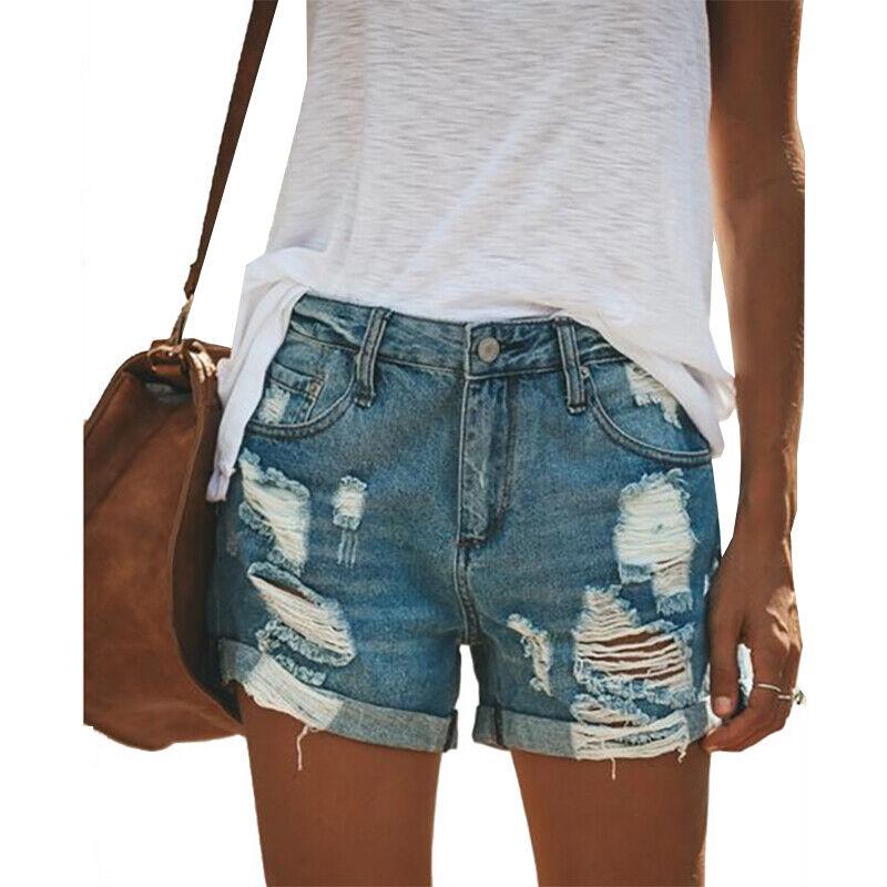 Ladies Ripped Jeans Shorts Summer Casual Vintage Look Denim