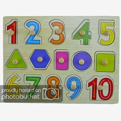 Lern- Steckspiel aus Holz für Kinder mit Zahlen 1-10 +5 Formen Holzpuzzle Puzzle
