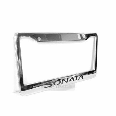 License Plate Stainless Chrome Frame black Logo Sticker for HYUNDAI 99-20 Sonata