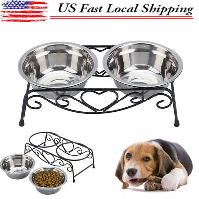 2x Pet Dog Cat Food Water Feeder Double Bowl Dish Stainless Steel Stand Raised